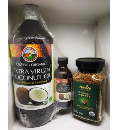 COUNTRY FARM EXTRA VIRGIN COCONUT OIL 1 LITRES WITH EXTRA 100ML BOTTLE Cum NATIVE ORG FREEZE DRIED COFFEE (90G)