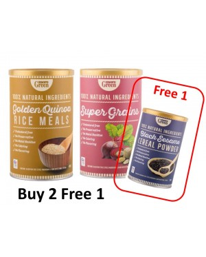 MoreGreen Mix GOLDEN QUINOA and Super Grains Free Black Sesame cereal powder