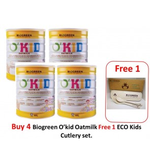 Buy 4 Biogreen O'Kid Oatmilk (HALAL) 850g Free ECO Kids Cutlery set.