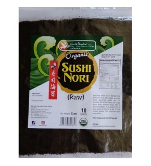 Health Paradise Organic Sushi Nori ( Raw ) ( 10 Sheets ) 23gm USDA Korea