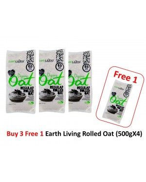 [Free Shipping] Buy 3 Free 1 Earth Living Organic Oat Regular Rolled Oat (500gX4)-  Halal