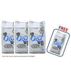 [Free Shipping] Buy 3 Free 1 Earth Living Organic Oat Instant Big Rye Oat (500gX4)-  Halal