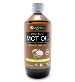 Health Paradise Organic MCT Oil ( Medium Chain Triglycerides from Coconut Oil ) 250ml [Keto Friendly]