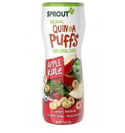 Health Paradise Sprout Organic Quinoa Puffs (Baby Cereal Snack) Kale Apple OR Carrot Mango 43gm USDA Gluten Free GF