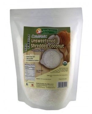 Health Paradise Organic Unsweetened Shredded Coconut 200gm Gluten Free, GF