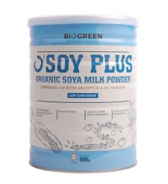 Biogreen O'Soy Plus Organic Low Cane Sugar Soya Milk Powder (HALAL) 800G