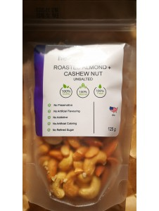Premium Roasted Cashew Nut + California Almond (Whole Nut) - Unsalted (Ready to eat) - 125 grams