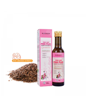 Biogreen Pink Lady Pink Plus Organic Flaxseed Oil (HALAL) 250ml With Organic Orange Extract